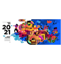 New year 2021 music festival and party vector