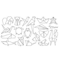 origami line animals paper geometric graphic logo vector image