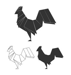 Origami rooster set vector