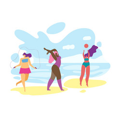 overweight girls playing and relaxing on seaside vector image