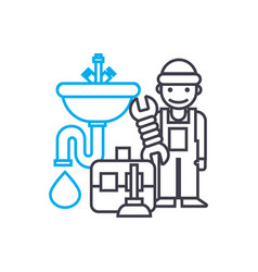 plumbing work thin line stroke icon vector image