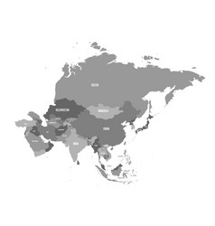 Political map of asia continent in shades of grey vector