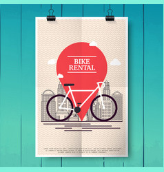 Poster with city bike hire rental tours for vector