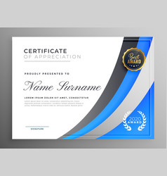 Professional blue certificate appreciation vector