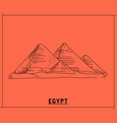 pyramid egypthand drawn sketch vector image