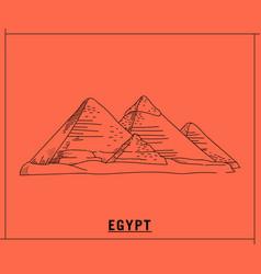 Pyramid egypthand drawn sketch vector