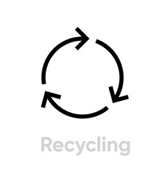 Recycling sign icon editable line vector