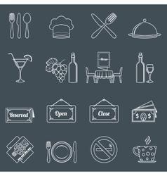 Restaurant icons set outline vector image