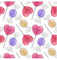 seamless pattern with realistic sweets colorful vector image
