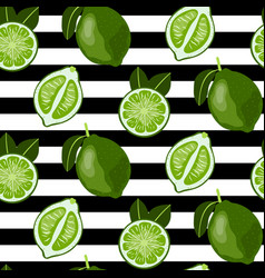 seamless pattern with whole and sliced limes vector image