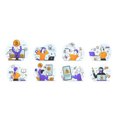 set eight scenes depicting students at leisure vector image