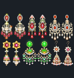 Set jewelry earrings with precious stones vector