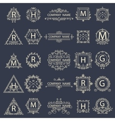 Set monogram company logos business sign vector image