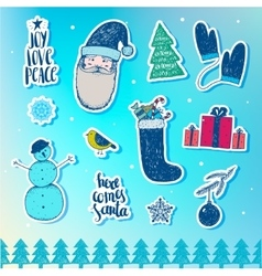 Set of Christmas New Year stickers badges vector