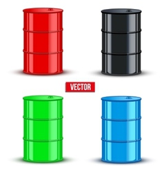 Set of metal oil barrels on white background vector image