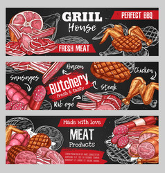 sketch banners butchery shop meat and sausages vector image