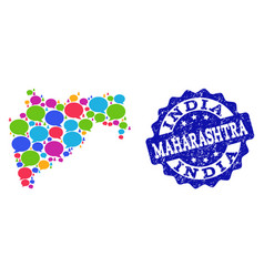 Social network map of maharashtra state with chat vector