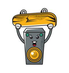 Speaker with skateboard comic character vector
