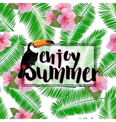Summer poster with palm leaves seashore flower vector