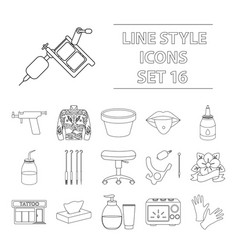 Tattoo studio set icons in outline style big vector