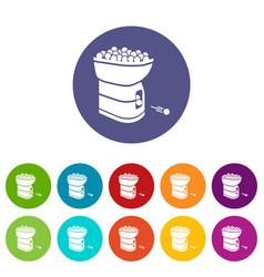 tennis ball machine icons set color vector image