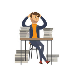 Tired businessman overwork paper pile vector
