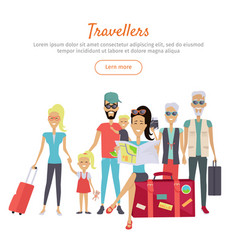 travelers different age with suitcases banner vector image