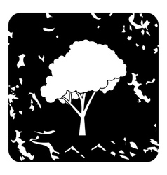 Tree with fluffy crown icon grunge style vector