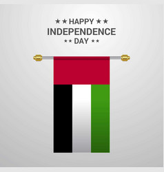 Uae independence day hanging flag background vector