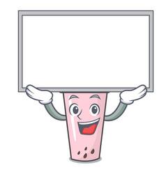 Up board raspberry bubble tea character cartoon vector