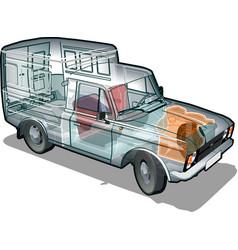 Van info graphics cutaway vector