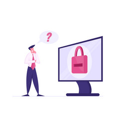 Web security concept thoughtful business man vector