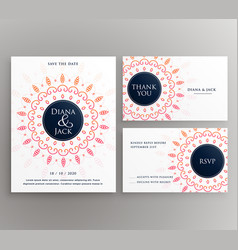 Wedding invitation rsvp and thankyou card design vector