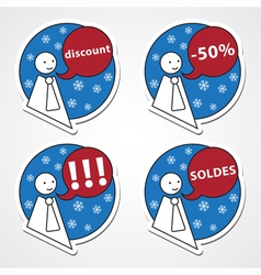 Winter discount - four stickers vector