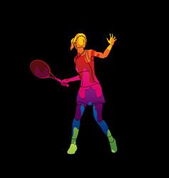 Woman tennis player sport pose vector