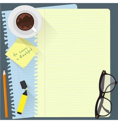 Workspace with cup of coffee vector