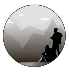 Young man and woman walking on a mountain trail vector