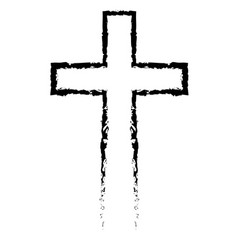 abstract christian cross black in hand drawn style vector image