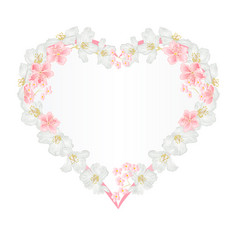 floral frame heart with jasmine and sakura vector image vector image