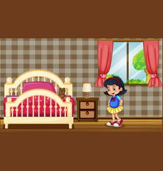 little girl in bedroom vector image vector image