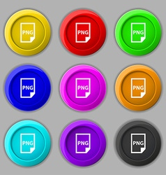 Png icon sign symbol on nine round colourful vector
