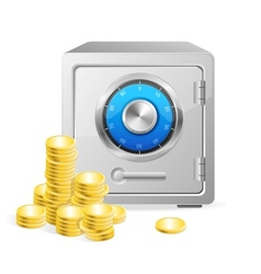 safe with gold coins vector image vector image