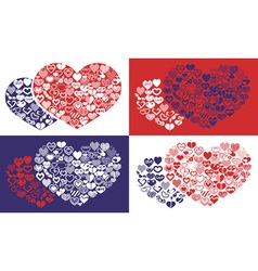 shape of hearts icons vector image vector image