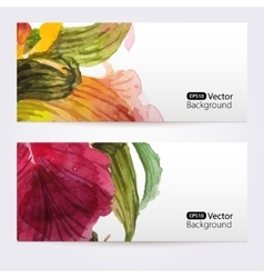 Two floral watercolor banners with iris flowers vector image vector image