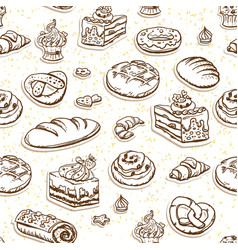 Bread and pastry seamless pattern in brown color vector