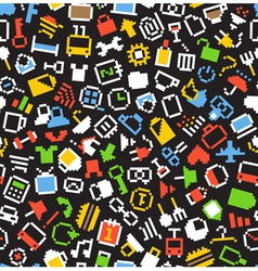 Color pixel style icons seamless background vector image