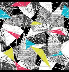 geometric seamless pattern in retro pop-art style vector image vector image