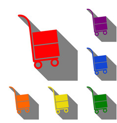 hand truck sign set of red orange yellow green vector image