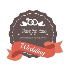 invitation weddign card with rings and bird design vector image