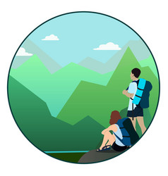 man and woman walking on a mountain trail and vector image